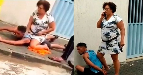 Policial aposentada salva idosa, imobiliza e prende bandido (veja o vídeo)