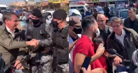 De moto, Bolsonaro vai de surpresa até área carente de Brasília e é ovacionado pelo povo (veja o vídeo)