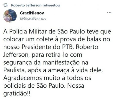 """470x0_1619899166_608db31ed8d53_hd URGENTE: """"Ameaças"""" do PCC fazem Roberto Jefferson sair escoltado pela PM de manifestação"""