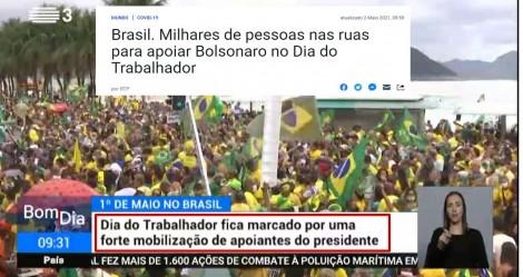 """Ante o silêncio criminoso da """"Mídia do Ódio"""", rede portuguesa dá show de transmissão nas manifestações (veja o vídeo)"""