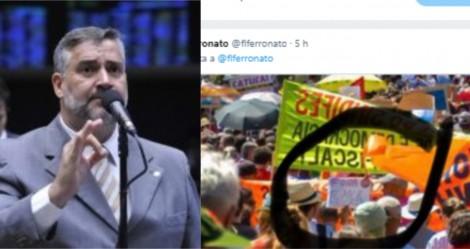 """Na pilantragem, deputado petista publica foto """"fake"""" de manifestação esquerdista, é desmascarado e sai de fininho"""