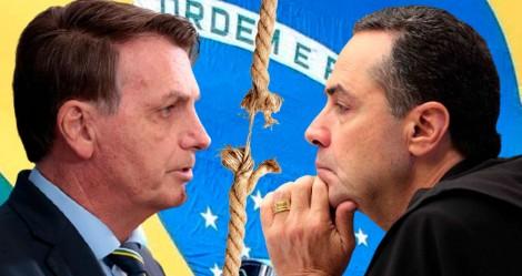 """Bolsonaro encara Barroso: """"É justo quem tirou Lula da cadeia ser o mesmo que vai contar os votos no TSE?"""" (veja o vídeo)"""