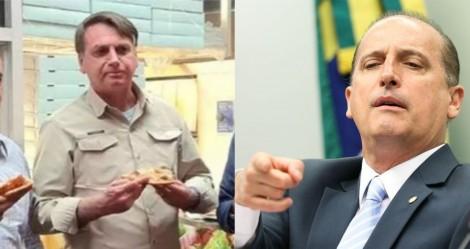 Comendo pizza em pé... Onyx dá resposta certeira para factoide sobre Bolsonaro em NY