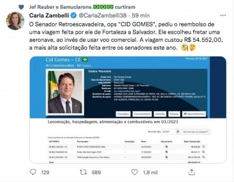470x0_1632836176_61531a501653e_hd Zambelli 'detona' Cid Gomes após escandaloso pedido de reembolso de passagem de avião