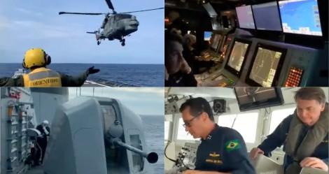 Bolsonaro mostra exercício da Marinha do Brasil em alto mar, com tiros reais (veja o vídeo)