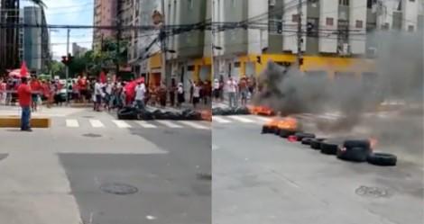 MTST coloca fogo em avenida de Recife (PE) e traz o caos ao trânsito da cidade (veja o vídeo)