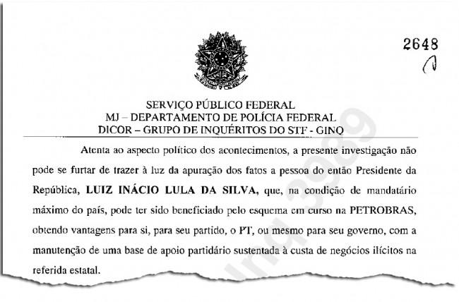 Trecho onde a PF pede a oitiva de Lula
