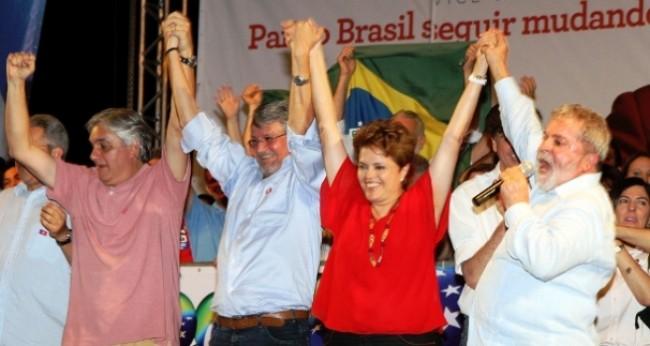O quarteto: Delcídio, Zeca, Dilma e Lula