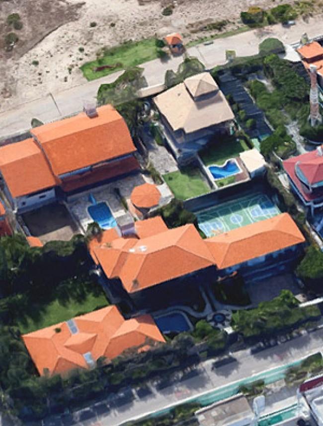 Visão aérea da mansão de Sérgio Machado