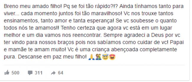 Mensagem do pai de Breno postada nas redes sociais