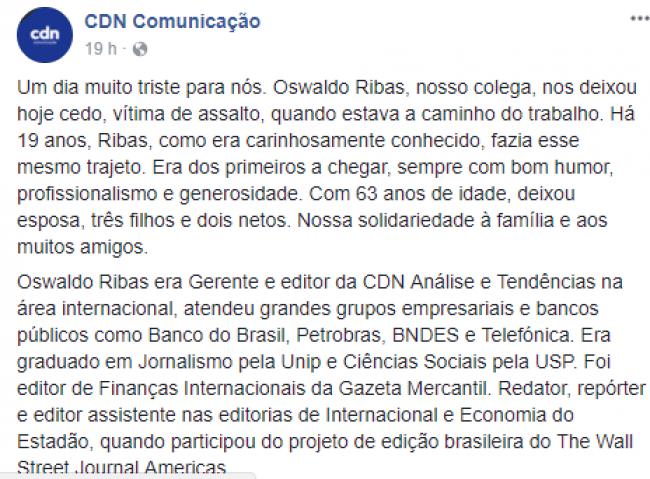 Postagem no Facebook da CDN