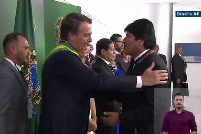 Evo Morales na posse de Bolsonaro