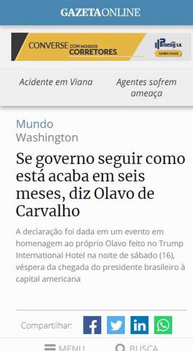 Print do site Gazeta Online