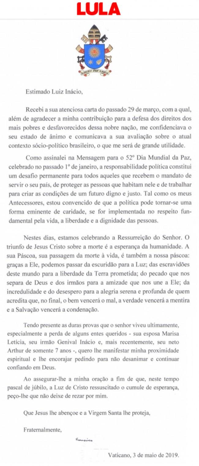 Print da carta do Papa divulgado pelo site oficial do Lula