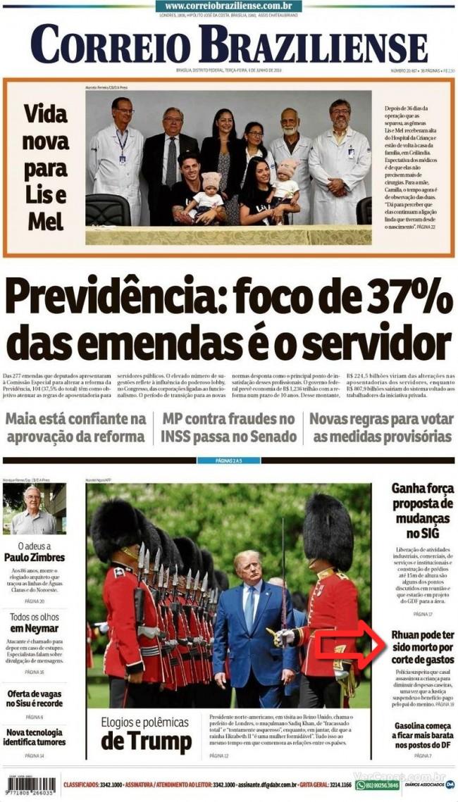 Capa jornal Correio Braziliense 04/06/2019
