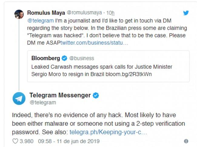 Mensagem original do Telegram