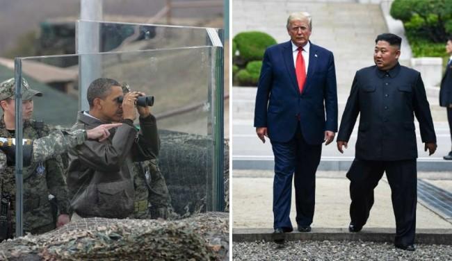 Obama visitando fronteira desmilitarizada entre Coréias em 2012 | Trump visitando Coréia do Norte em 2019.