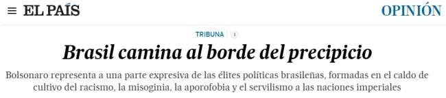 Print do título da matéria do EL PAÍS