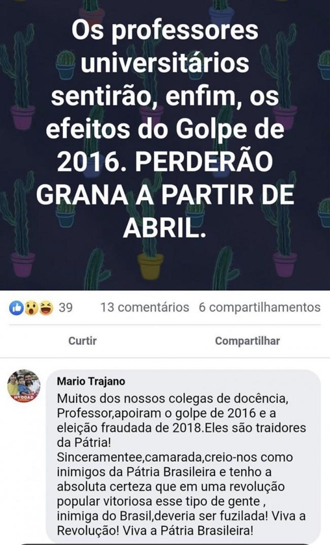 Professor pede o fuzilamento de Bolsonaristas