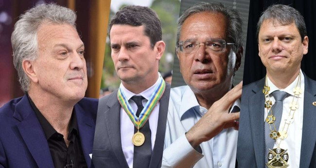 Na foto: (Bial, Moro, Paulo Guedes e Tarcísio Gomes)