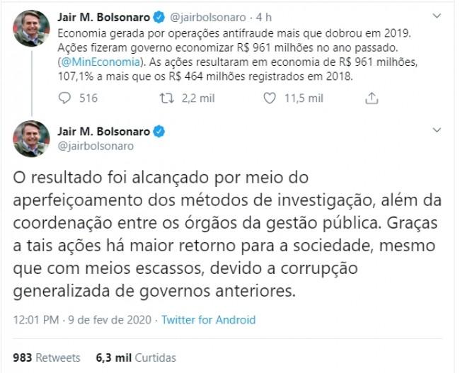 Publicação de Bolsonaro no Twitter