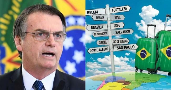 Fotomontagem: Jair Bolsonaro e turismo brasileiro
