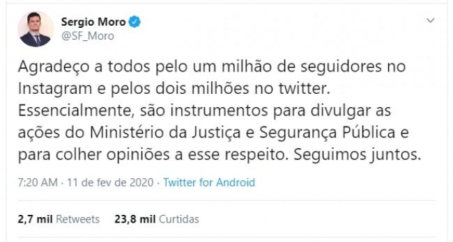 Publicação no Twitter de Sérgio moro