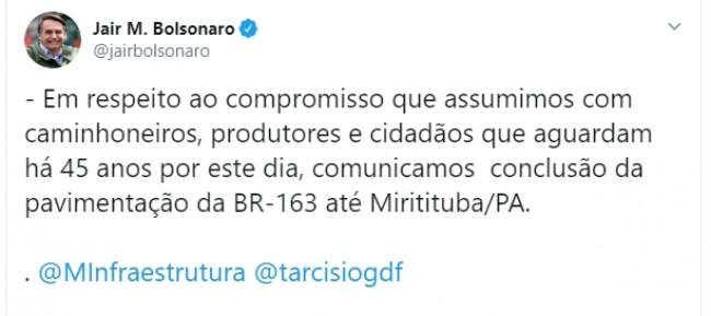 Publicação no Twitter de Jair Bolsonaro