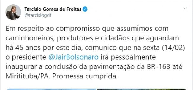 Publicação no Twitter de Tarcísio Freitas