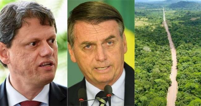 Fotomontagem: Tarcísio Freitas, Jair Bolsonaro e a BR-163