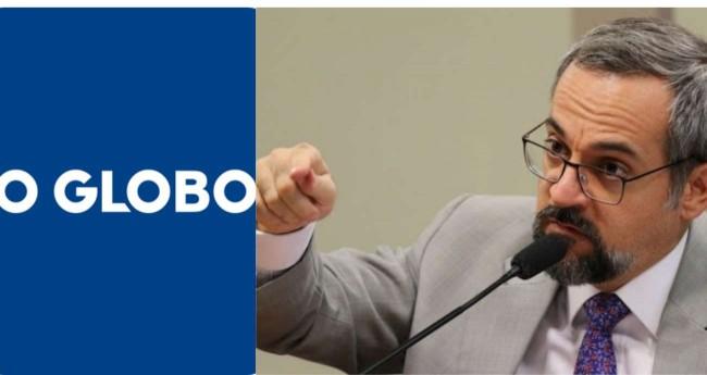 Fotomontagem: Logo do jornal O Globo e Abraham Weintraub