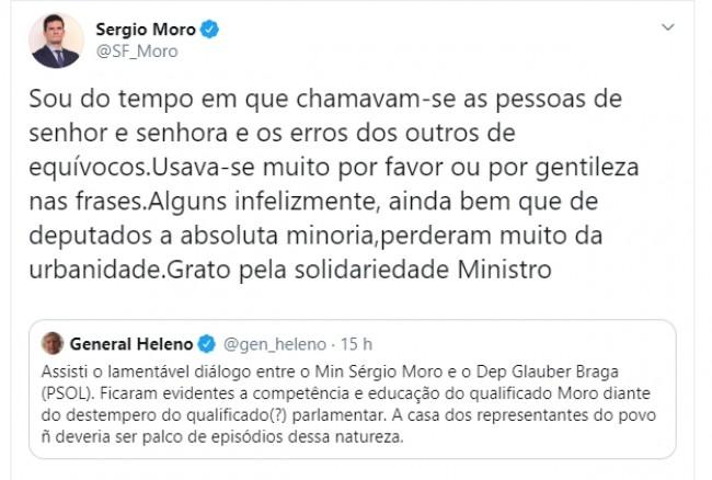 Publicações de Sérgio Moro e general Heleno no Twitter