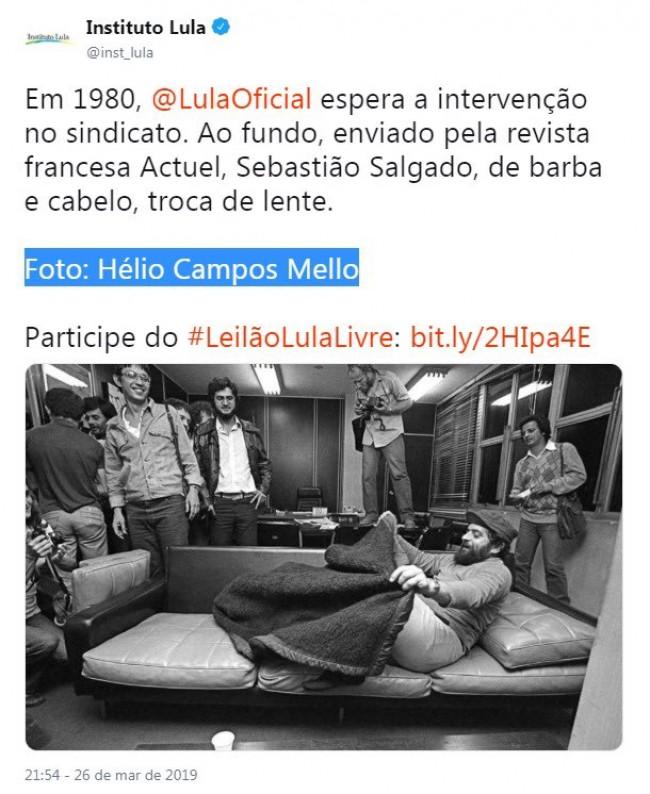 Publicação do Instituto Lula com marcação de Hélio Campos Mello