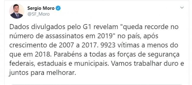 Publicação de Sérgio Moro no Twitter