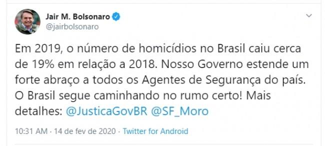 Publicação de Jair Bolsonaro non Twitter