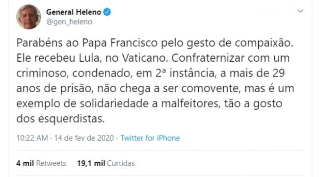 Publicação de General Heleno no Twitter