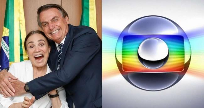 Fotomontagem: Regina Duarte, Jair Bolsonaro e logo da Globo