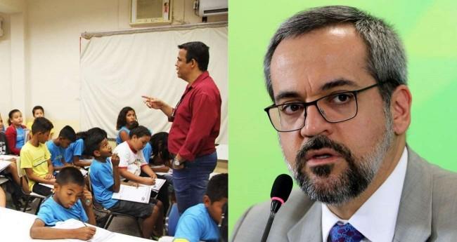 Fotomontagem: Professor em sala de aula e Abraham Weintraub