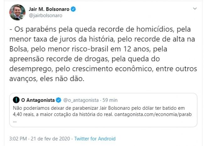 Publicação de Jair Bolsonaro no Twitter