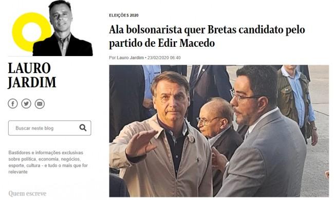 Manchete da Coluna de Lauro Jardim no jornal O Globo