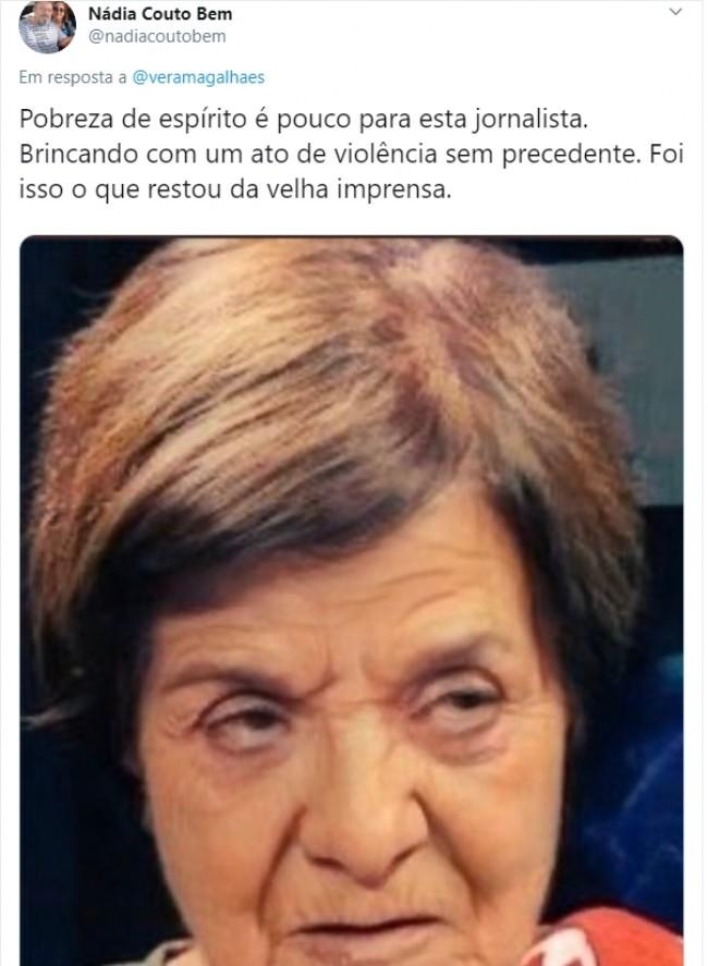 Comentário de internauta na publicação de Vera Magalhães