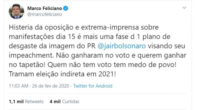 Publicação de Marco Feliciano no Twitter