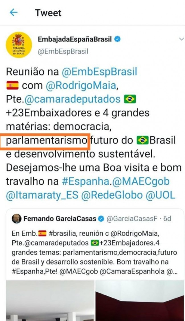 EMBAIXADA ESPANHOLA ENTREGA MAIA E DEPOIS APAGA