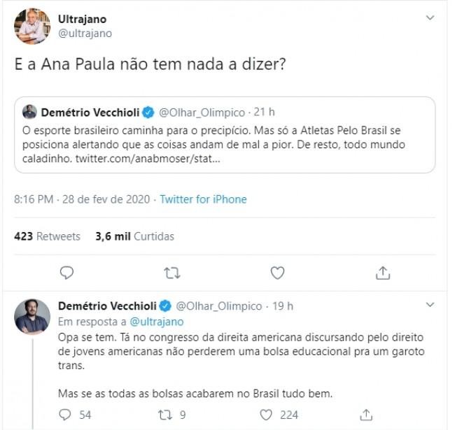 Publicações de José Trajano e Démetrio Vecchioli no Twitter