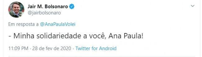 Comentário de Jair Bolsonaro na publicação de Ana Paula Henkel