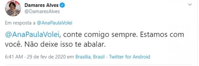 Comentário de Damares Alves na publicação de Ana Paula Henkel