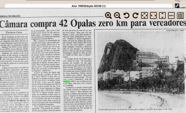 Jornal do Brasil em 16 de março de 1990