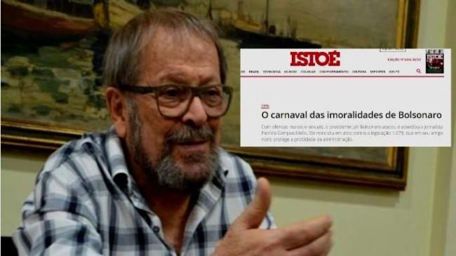 O ator Carlos Vereza. E, no detalhe, a manchete da IstoÉ