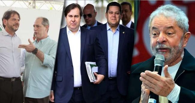 Foto montagem: Cid e Cir, Maia e Alcolumbre e Lula da Silva
