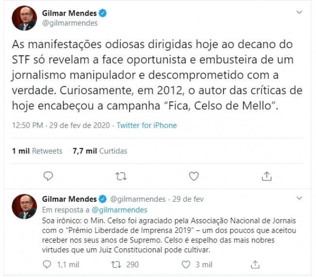 Publicações de Gilmar Mendes no Twitter